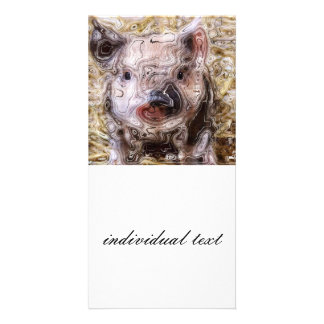 scribbled piglet photo greeting card