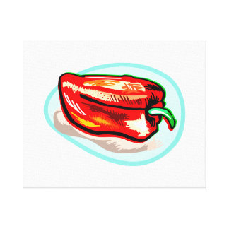 Scribbled red pepper on blue circle canvas print