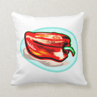 Scribbled red pepper on blue circle throw cushion
