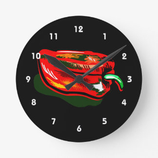 Scribbled red pepper round clock