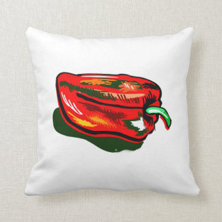 Scribbled red pepper throw cushions