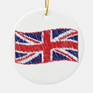 Scribbled Union Flag Round Ceramic Decoration