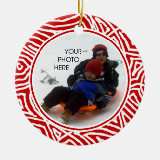 Scribbleprint Christmas Round Ceramic Decoration