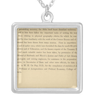 Scribner's statistical atlas silver plated necklace
