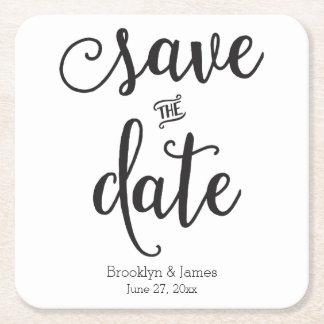 Script Black And White Save The Date Coasters Square Paper Coaster