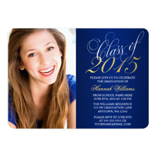"Script Blue Gold Photo Graduation Announcement 5"" X 7"" Invitation Card"
