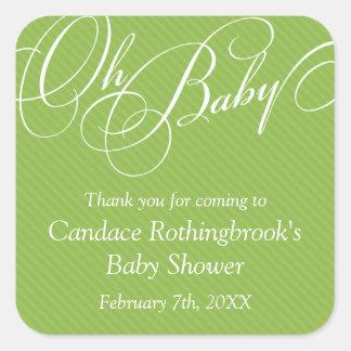 Script Diagonals in Lime Baby Shower  Sticker