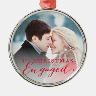 Script First Christmas Engaged Holiday Photo Christmas Ornament