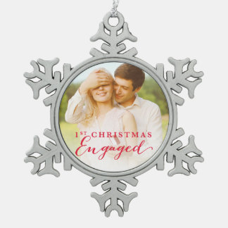 Script First Christmas Engaged Holiday Photo Pewter Snowflake Decoration