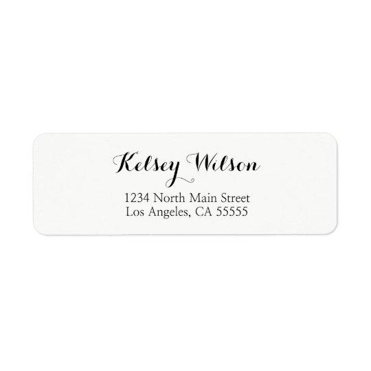 Script font return address labels