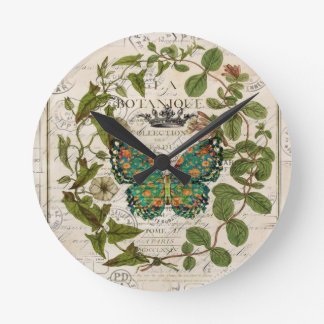 script french country botanical monarch butterfly round clock