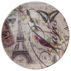 Script French country butterfly Paris Eiffel Tower Plate