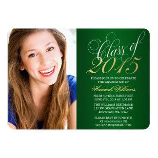 "Script Green Gold Photo Graduation Announcement 5"" X 7"" Invitation Card"