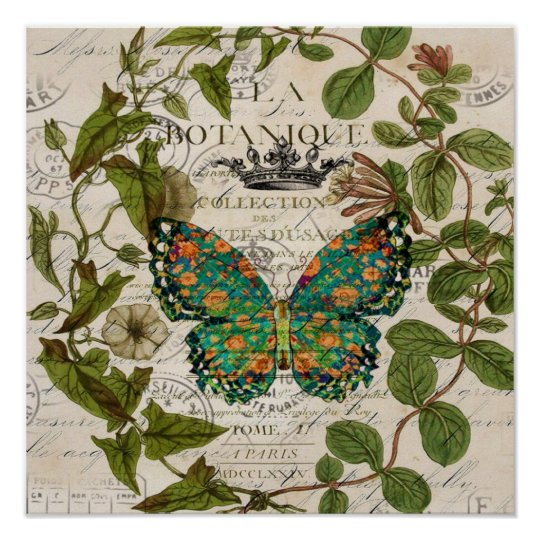 script Leaf Wreath french country butterfly Poster