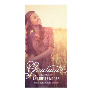Script Overlay Graduation Announcement Card