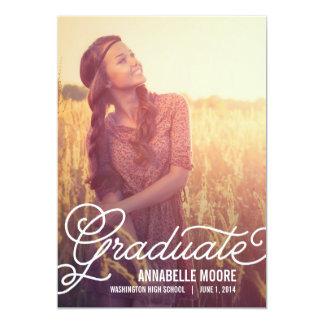 Script Overlay Graduation Invitation - Solid Color Cards