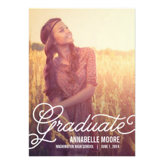 Script Overlay Graduation Invitation - Wood Personalized Announcement