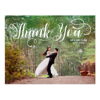 Script Overlay Wedding Photo Thank You Postcard