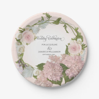 Script Pretty Hydrangea Floral Wreath Hand Painted 7 Inch Paper Plate