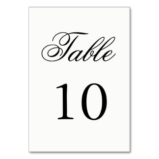 Script Table Number Table Cards