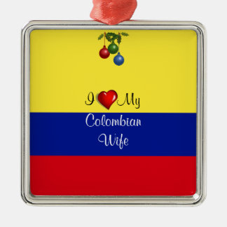 "Script text, ""I Love My Colombian Wife Silver-Colored Square Decoration"