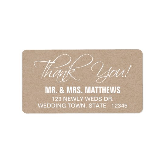 Script Thank You Wedding Address Label