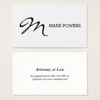 Script Type Monogram Business Card