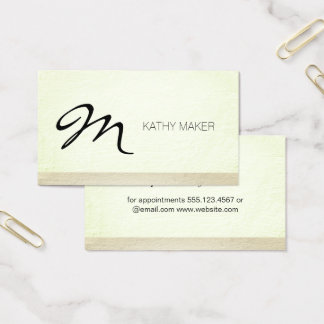 Script Type Monogram Grunge Two Tone Business Card