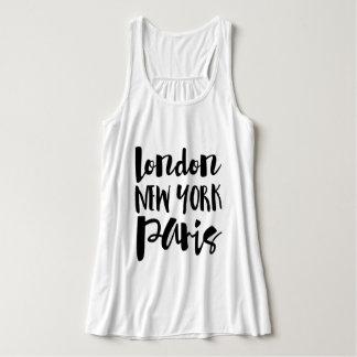 Script Typography - London, New York, Paris Tank Top