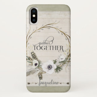 Script Typography Rustic Farm Gather Together Art iPhone X Case