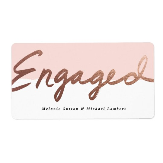 Scripted engagement faux foil water bottle label shipping label