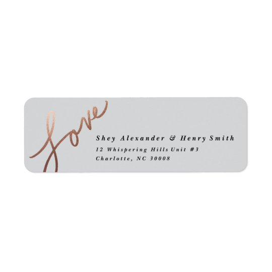 Scripted love faux foil | Return address label