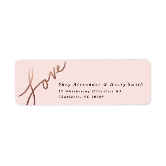 Scripted Love Faux Foil Return address label