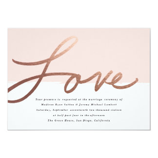 Scripted Love Faux Foil Wedding invitation