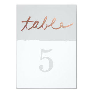 Scripted love wedding faux foil table numbers 13 cm x 18 cm invitation card