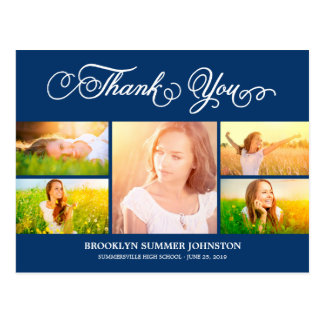 Scripted Thank You Grad Photo Collage Postcard