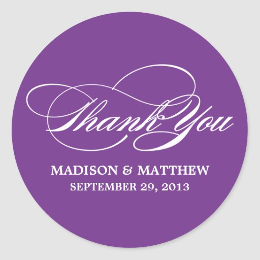 SCRIPTED | WEDDING THANK YOU FAVOR LABEL ROUND STICKER