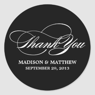 SCRIPTED WEDDING THANK YOU FAVOR LABEL STICKERS