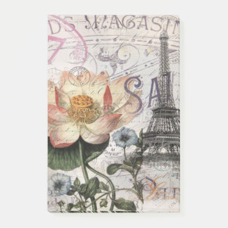 scripts french botanical lotus paris eiffel tower post-it notes