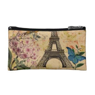 Scripts Hydrangea French Bird Paris Eiffel Tower Cosmetic Bag