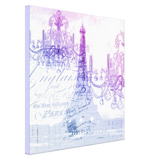 scripts purple chandelier paris eiffel tower canvas print