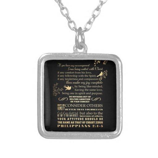 Scriptural Bible Verse - Philippians 2: 1-5 Personalized Necklace