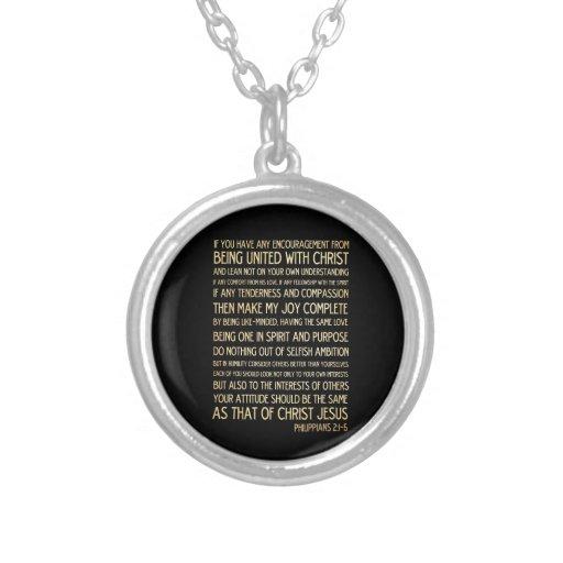 Scriptural Bible Verse - Philippians 2:1-5 Custom Necklace