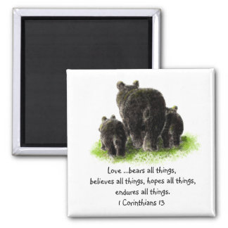 Scripture 1 Corinthians 13:4 Love is Square Magnet