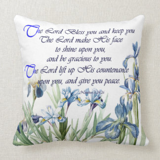 Scripture Botanical Blue Iris Flowers Floral Cushion
