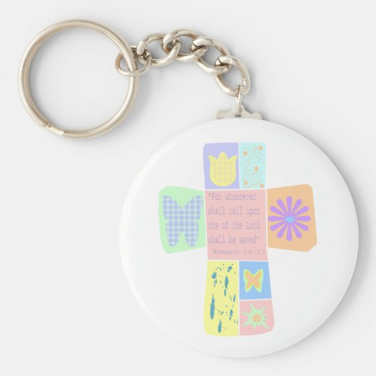 Scripture Cross key chain