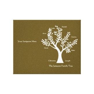 Scripture Family Tree Canvas, Dark Khaki Gallery Wrapped Canvas