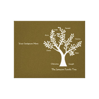 Scripture Family Tree Canvas, Dark Khaki Gallery Wrapped Canvas