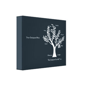 Scripture Family Tree  Canvas Print, Med Black