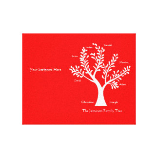 Scripture Family Tree  Canvas Print, Red Canvas Print